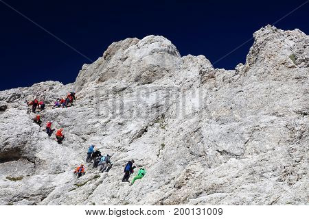 Climbers on Triglav Peak, Julian Alps, Slovenia, Europe