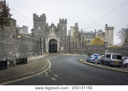 ARUNDEL, WEST SUSSEX, UK, 17 NOVEMBER 2013 - View of the entrance to Arundel Castle West Sussex UK
