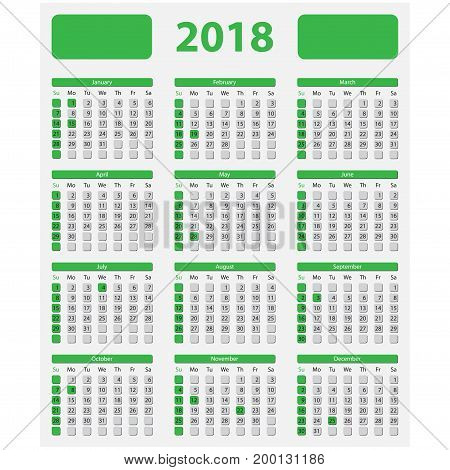 USA calendar 2018 official holidays and non-working days - week starts on sunday