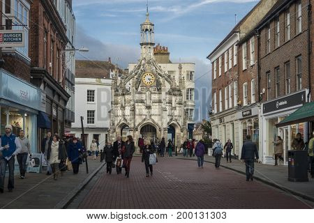 CHICHESTER, WEST SUSSEX, UK, 16 NOVEMBER 2013 - The Medieval Chichester Cross in the centre of the City of Chichester West Sussex. Built in the fifteenth century as a shelter for traders now a landmark at a cross roads.