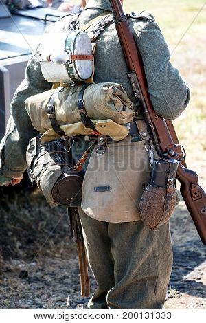 Outfit of a German soldier from the Second World War. Back view
