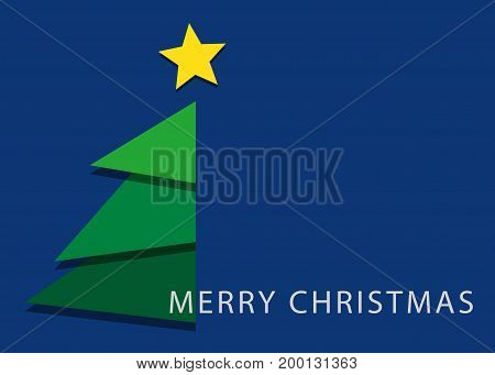blue greeting card with text - green christmas stylized tree with yellow star usa standard 5 x 7 inches