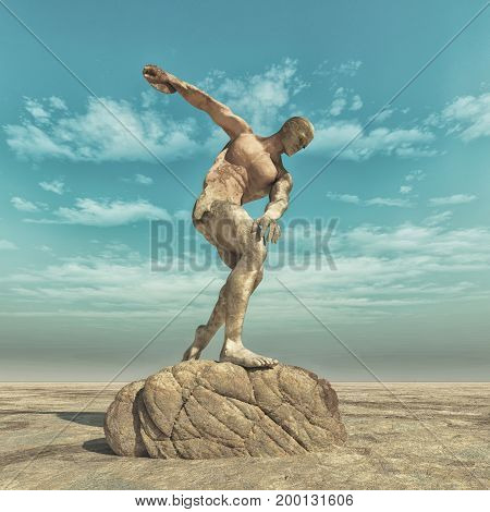 Statue of a man with an athlete throwing the disc to. This is a 3d render illustration