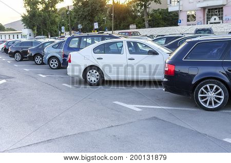 TROGIR, CROATIA - 11 JULY, 2017: Parking vehicles on the streets of Trogir