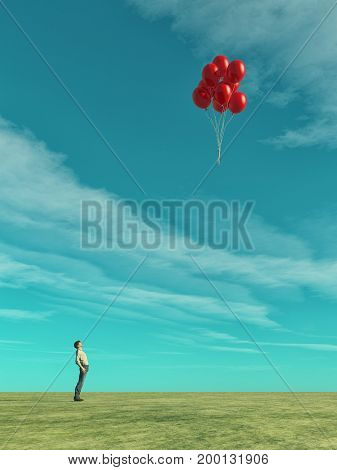 A man looks at red balloons flying. This is a 3d render illustration.