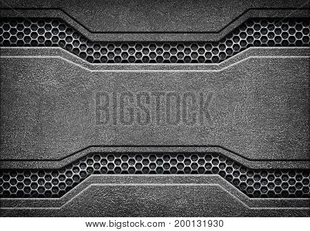 Black Grunge Metal Plate Or Armour Texture, 3D, Illustration
