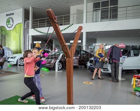 Voronezh, Russia - June 04, 2017: Entertainment for children in the game zone of the SKODA showroom Voronezh