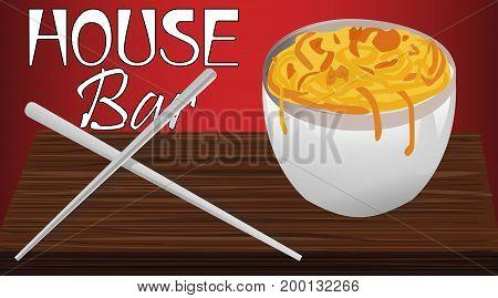 Advertising noodles, vector art illustration signs café.
