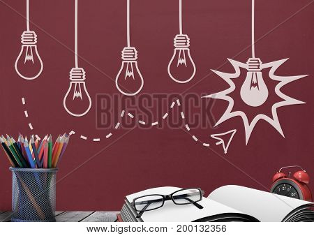 Digital composite of Books on the table against red blackboard with bulb graphics