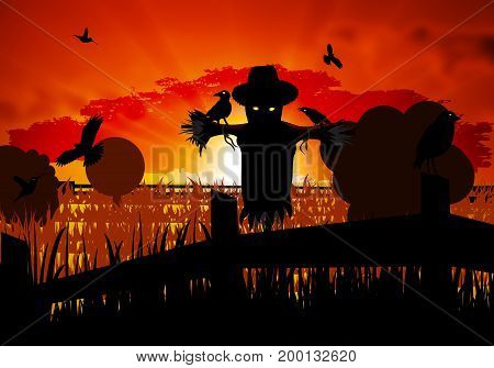 Autumn scarecrow guarding the field with crows, vector art illustration of Halloween.