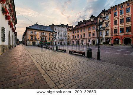 A Small Market square Maly Rynek in Krakow. Poland.