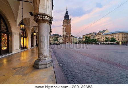 Town hall tower in the main square of Krakow. Poland.