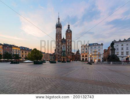 Rynek Glowny - The main square of Krakow Poland. Europe in the morning