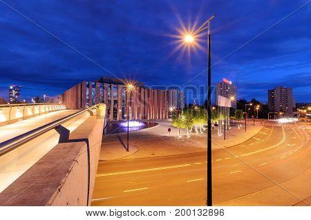 Katowice in the night. Night city. Poland. Europe.