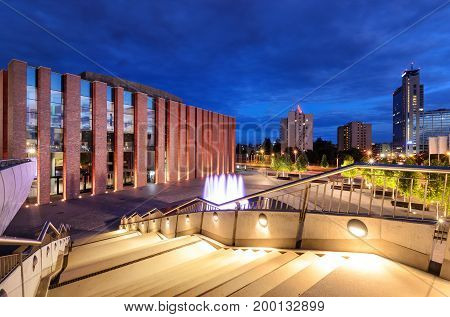 Katowice in the evening. Night city. Poland. Europe.