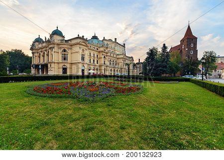 Krakow Slowackiego theater in the morning. Poland. Europe.