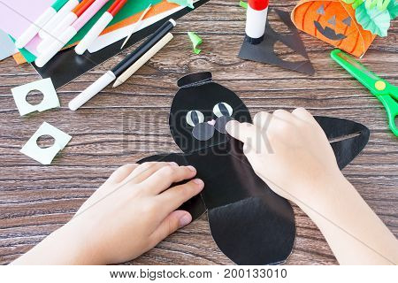 Create A Gift Box Black Cat Halloween. The Child Glues The Details Of The Application Of The Box. Ch