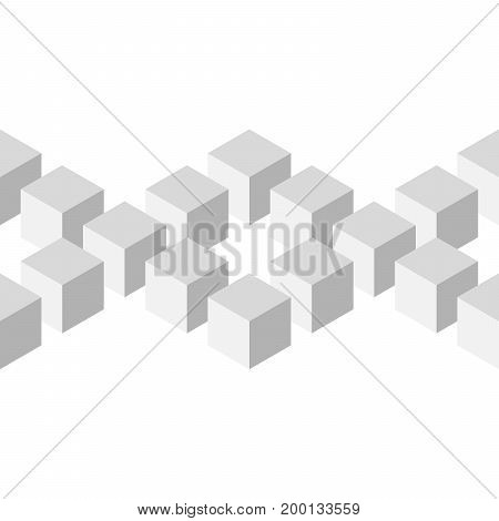 Seamless 3D geometrical pattern of arranged cubes. Abstract design vector background in shades of grey on white background