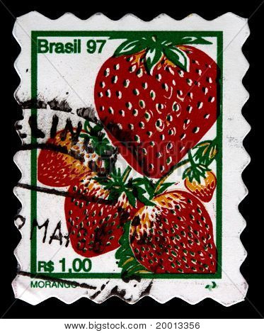 Brazil - Circa 1997: A 1-real Stamp Printed In Brazil Shows Several Strawberries (morango), Circa 19