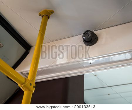 The video surveillance camera is installed in the cabin of the bus