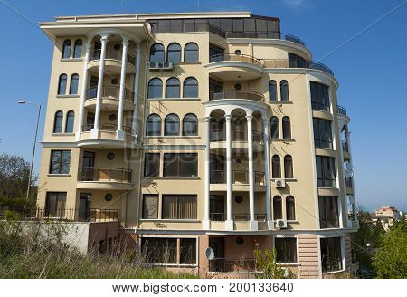 SAINTS CONSTANTINE AND HELENA, BULGARIA - APRIL 27, 2015: modern appart building in Saints Constantine and Helena, the oldest first sea resort of Bulgaria, exists from 19 century.