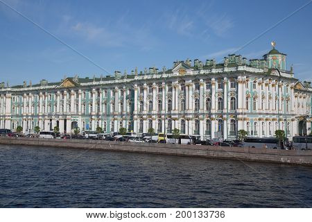 Palace Hermitage Neva river summer sunny day waterfront