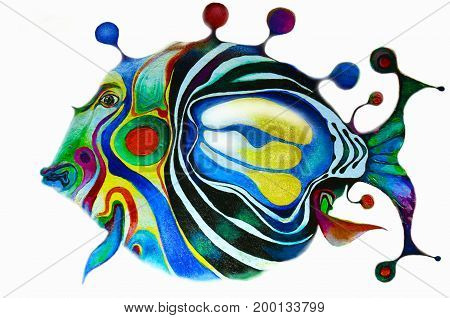 Painted bright fish on a white background. All the colors of the rainbow. Isolated multicolor composition. Painting. Children's holiday.