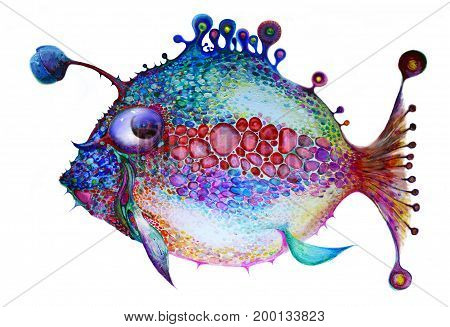 Painted bright fish on a white background. All the colors of the rainbow. Isolated multicolor composition. Painting. Children's holiday