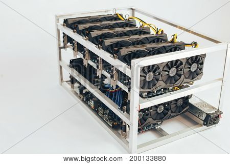 Videocards for the crypto currency. White background