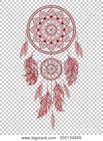 Hand drawn Native American Indian talisman dreamcatcher with feathers. Vector hipster illustration isolated. Ethnic design, boho chic, tribal symbol.