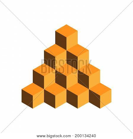 Pyramid of gold cubes. 3D vector illustration isolated on white background.