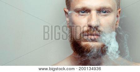 Portrait Of Man Close-up Cigarette Smoke Bad Habit Concept