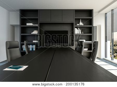 Stylish monochrome office with black decor viewed along a conference table with swivel chairs leading to a shelving unit with display monitor. 3d Rendering.
