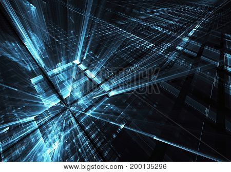 Computer generated abstract technology image. Three-dimensional fractal texture illustration