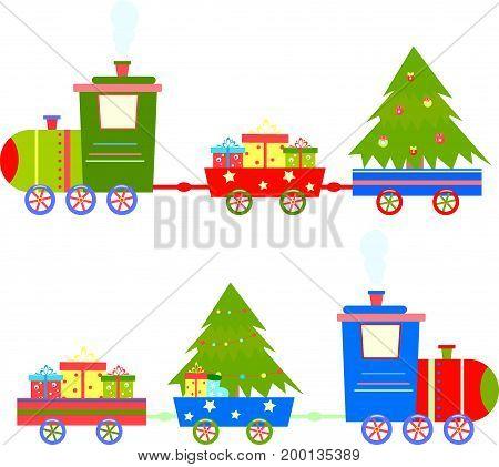 Train cartoon gifts vector kid, winter, box, tint, boy, ride