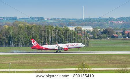 Passenger Plane Of Air Berlin Airline Touching Down With Smoke