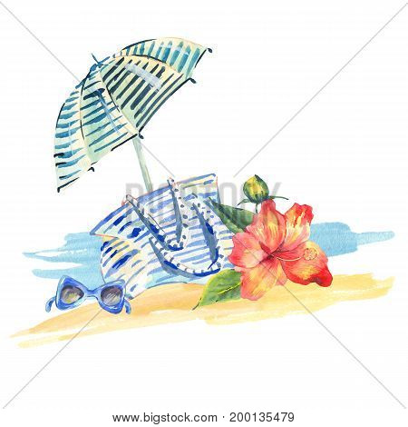 Watercolor nautical greeting card with summer beach objects - umbrella, bag, sunglasses, flowers hibiscus on white background. Fashion design elements