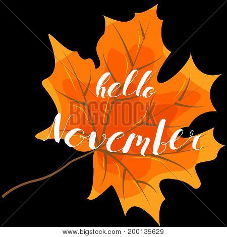 November hello hand lettering quotes.Modern motivation calligraphy typography for the poster invitations greeting cards.Vector design lettering