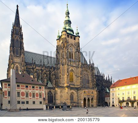 Prague. Saint Vitus cathedral in sunny day