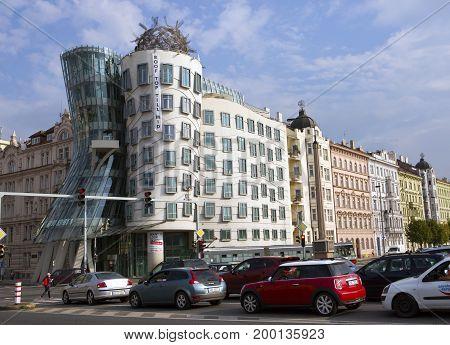 PRAGUE SEPTEMBER 15 2014: Dancing House at the Vltava river embankment in Prague Czech Republic