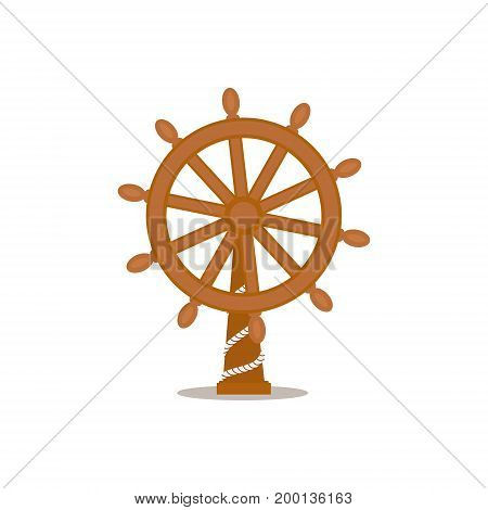 Ship, sailboat steering wheel, cartoon vector illustration isolated on white background. Cartoon, comic style vector illustration of traditional wooden ship, sailboat steering wheel on stand