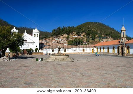 White colonial houses of La Recoleta at Plaza Pedro de Anzures square, Sucre, Bolivia South America.