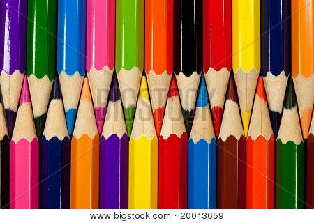 closeup of colored pencils