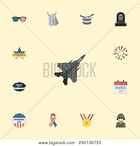Flat Icons Military Man, Usa Badge, Tomb And Other Vector Elements