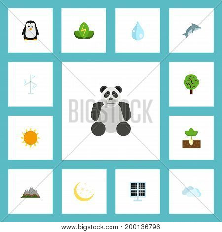 Flat Icons Eco Energy, Sun Power, Sprout And Other Vector Elements