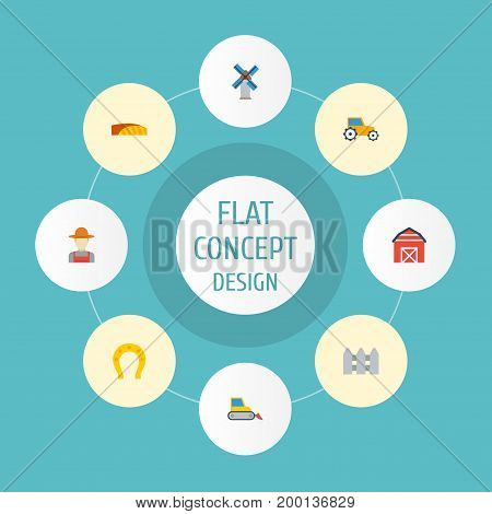Flat Icons Talisman, Grower, Wooden Barrier And Other Vector Elements