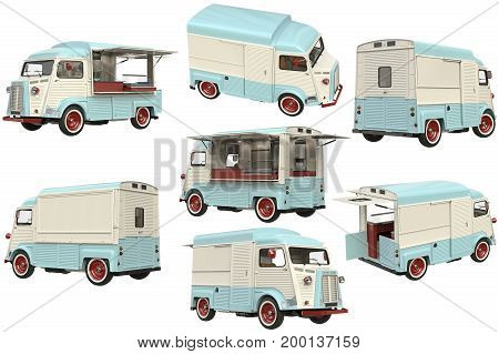 Food truck eatery cafe on wheels, in light colors set. 3D rendering