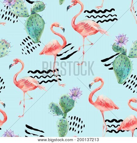 Watercolor pink flamingo and tropical flowers seamless pattern with abstract watercolor stains. Hand painted exotic floral cactus illustration, birds on blue background.