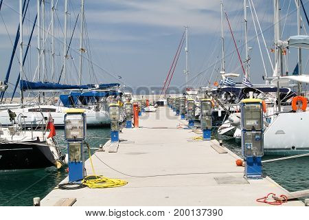 Pier for yachts with electrical and water. Greece