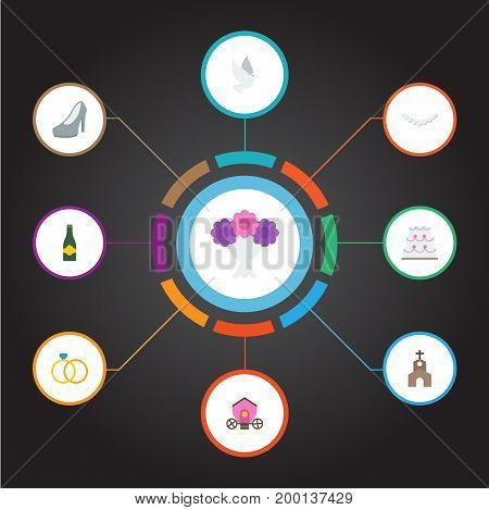 Set Of Marriage Flat Icons Symbols Also Includes Dove, Fizz, Sandal Objects.  Flat Icons Jewelry, Fizz, Sandal Vector Elements.